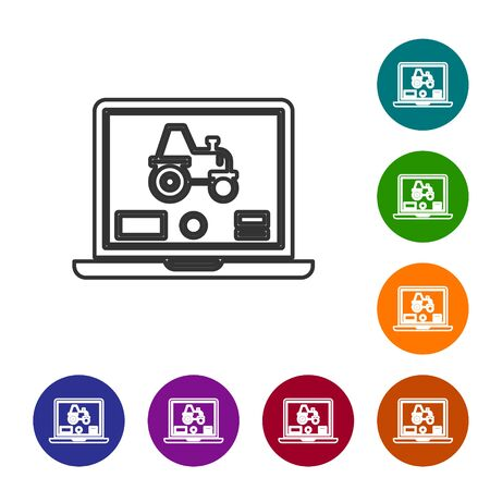 Grey line Laptop application for control a autonomous tractor on a smart farm icon isolated on white background. Smart agriculture implement. Set icons in color circle buttons. Vector Illustration