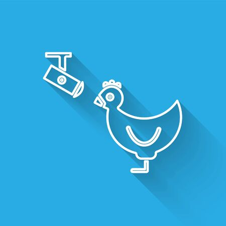 White line Chicken farm and wireless Controlling CCTV security camera icon isolated with long shadow. Vector Illustration Illusztráció
