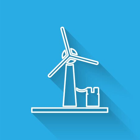 White line Wind turbine icon isolated with long shadow. Wind generator sign. Windmill for electric power production. Vector Illustration