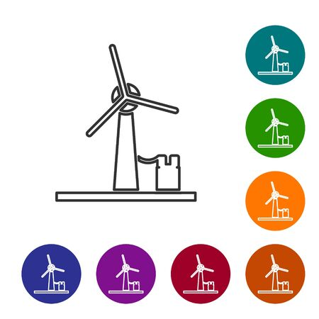 Grey line Wind turbine icon isolated on white background. Wind generator sign. Windmill for electric power production. Set icons in color circle buttons. Vector Illustration