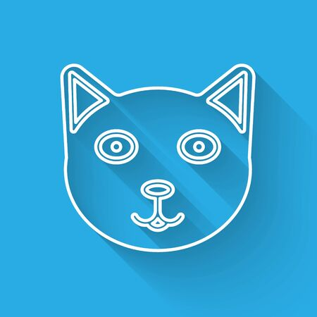 White line Pet icon isolated with long shadow. Vector Illustration