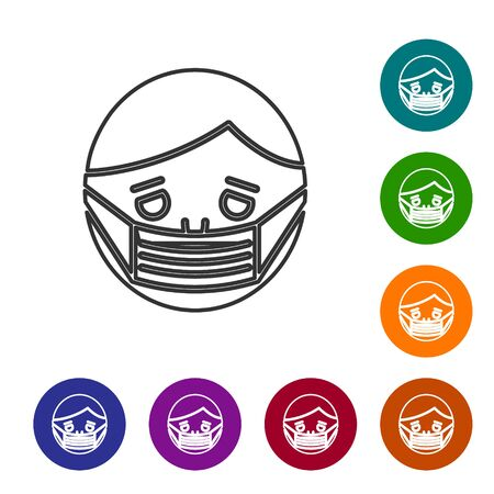 Grey line Man face in a medical protective mask icon isolated on white background. Quarantine. Set icons in color circle buttons. Vector Illustration