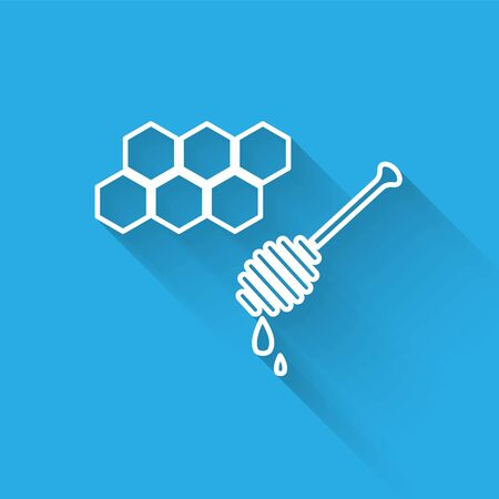 White line Honeycomb with honey dipper stickicon isolated with long shadow. Honey ladle. Honey cells symbol. Sweet natural food. Vector Illustration Ilustração