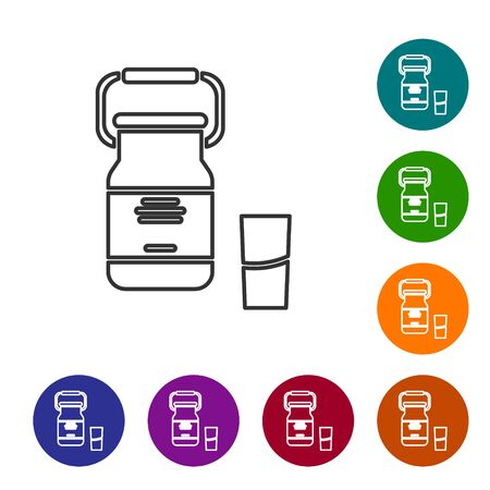 Grey line Can container for milk and glass icon isolated on white background. Set icons in color circle buttons. Vector Illustration Illustration