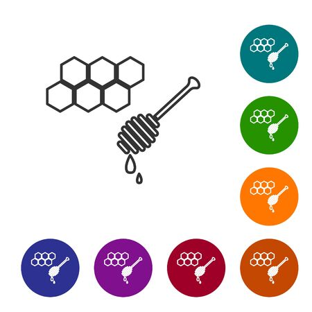 Grey line Honeycomb with honey dipper stickicon isolated on white background. Honey ladle. Honey cells symbol. Sweet natural food. Set icons in color circle buttons. Vector Illustration