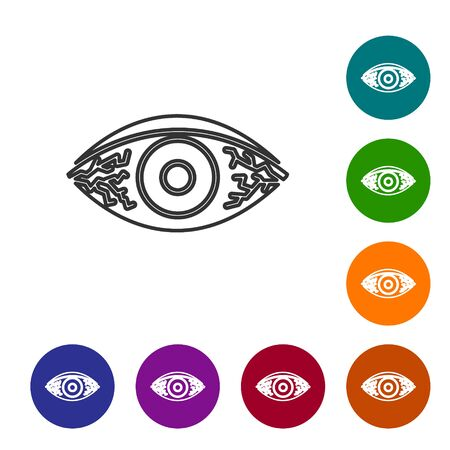 Grey line Reddish eye due to viral, bacterial or allergic conjunctivitis icon isolated on white background. Set icons in color circle buttons. Vector Illustration