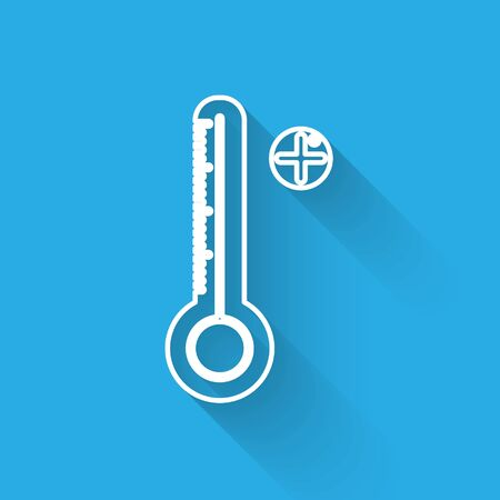 White line Medical digital thermometer for medical examination icon isolated with long shadow. Vector Illustration