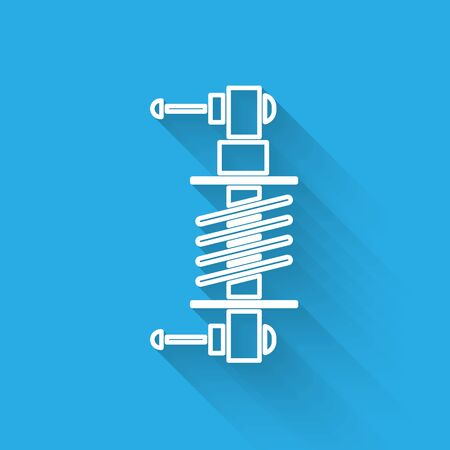 White line Shock absorber icon isolated with long shadow. Vector Illustration  イラスト・ベクター素材