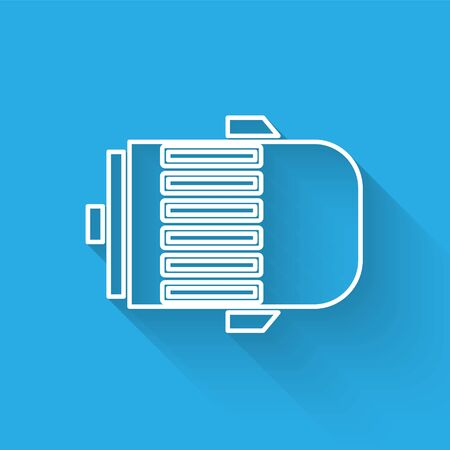 White line Electric engine icon isolated with long shadow. Car alternator. Vector Illustration