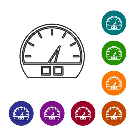 Grey line Speedometer icon isolated on white background. Set icons in color circle buttons. Vector Illustration