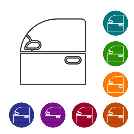 Grey line Car door icon isolated on white background. Set icons in color circle buttons. Vector Illustration