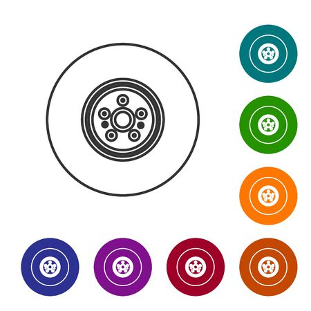 Grey line Car brake disk icon isolated on white background. Set icons in color circle buttons. Vector Illustration
