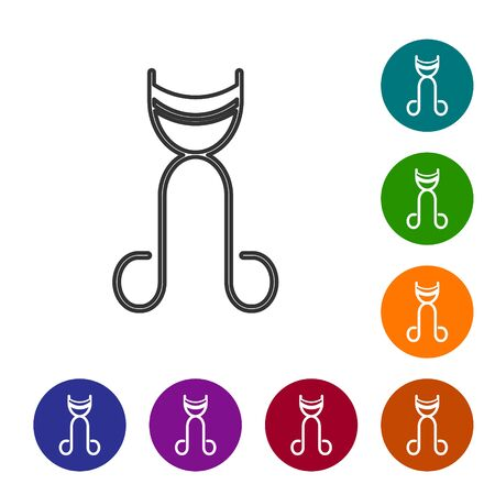 Grey line Eyelash curler icon isolated on white background. Makeup tool sign. Set icons in color circle buttons. Vector Illustration Illustration
