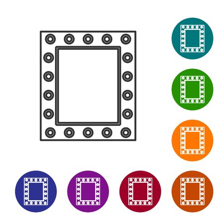 Grey line Makeup mirror with lights icon isolated on white background. Set icons in color circle buttons. Vector Illustration