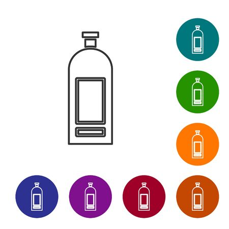 Grey line Bottle of shampoo icon isolated on white background. Set icons in color circle buttons. Vector Illustration