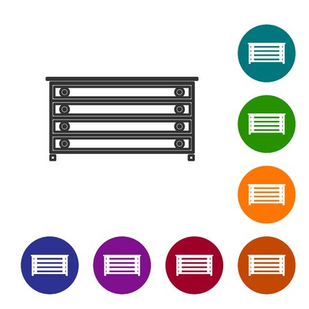 Grey line Chest of drawers icon isolated on white background. Set icons in color circle buttons. Vector Illustration