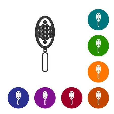 Grey line Hairbrush icon isolated on white background. Comb hair sign. Barber symbol. Set icons in color circle buttons. Vector Illustration Ilustracja