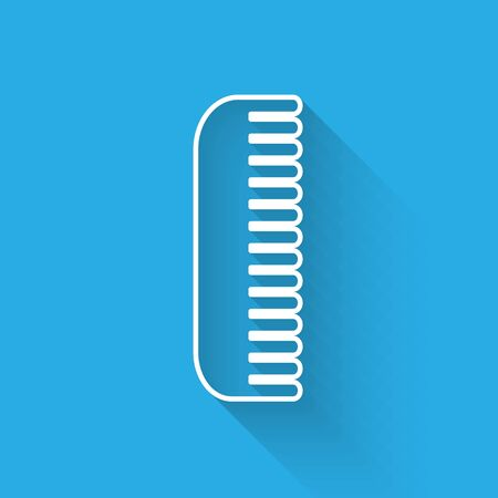White line Hairbrush icon isolated with long shadow. Comb hair sign. Barber symbol. Vector Illustration Ilustracja