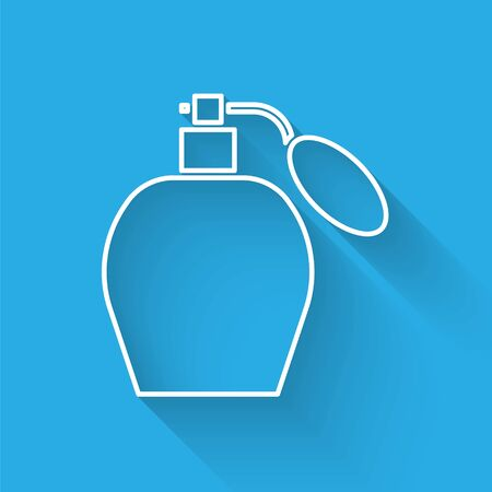 White line Perfume icon isolated with long shadow. Vector Illustration