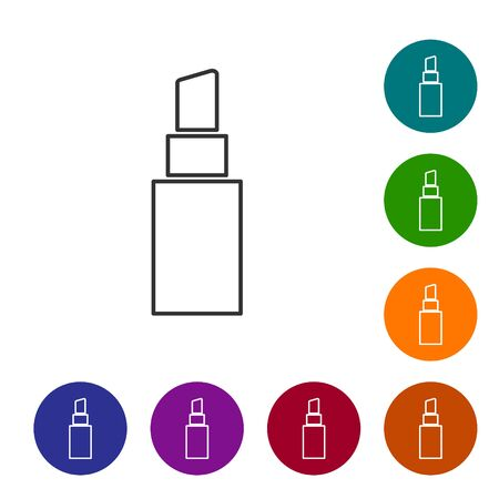 Grey line Lipstick icon isolated on white background. Set icons in color circle buttons. Vector Illustration