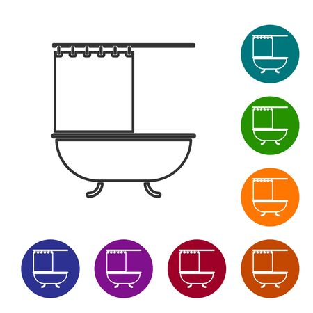 Grey line Bathtub with open shower curtain icon isolated on white background. Set icons in color circle buttons. Vector Illustration Ilustração