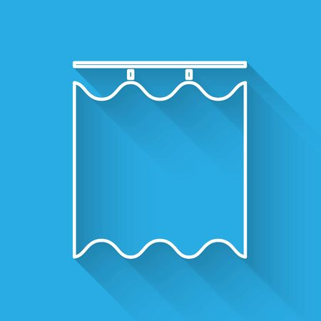 White line Curtains icon isolated with long shadow. Vector Illustration