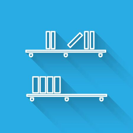 White line Shelf with books icon isolated with long shadow. Shelves sign. Vector Illustration