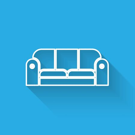 White line Sofa icon isolated with long shadow. Vector Illustration