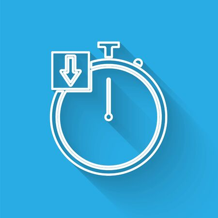 White line Stopwatch icon isolated with long shadow. Time timer sign. Chronometer. Vector Illustration  イラスト・ベクター素材