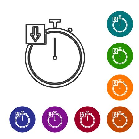 Grey line Stopwatch icon isolated on white background. Time timer sign. Chronometer. Set icons in color circle buttons. Vector Illustration