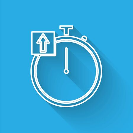 White line Stopwatch icon isolated with long shadow. Time timer sign. Chronometer sign. Vector Illustration  イラスト・ベクター素材