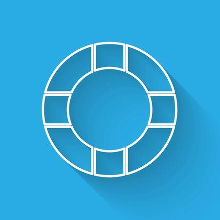 White line Lifebuoy icon isolated with long shadow. Lifebelt symbol. Vector Illustration