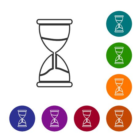 Grey line Old hourglass with flowing sand icon isolated on white background. Sand clock sign. Business and time management concept. Set icons in color circle buttons. Vector Illustration 向量圖像