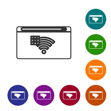 Grey line No Internet connection icon isolated on white background. No wireless wifi or sign for remote internet access. Set icons in color circle buttons. Vector Illustration