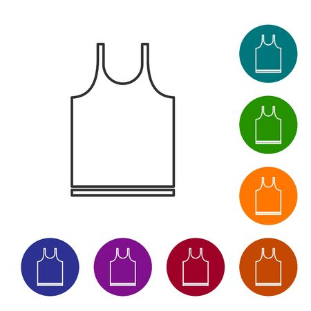 Grey line Sleeveless T-shirt icon isolated on white background. Set icons in color circle buttons. Vector Illustration