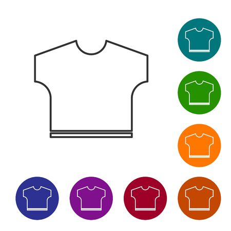 Grey line T-shirt icon isolated on white background. Set icons in color circle buttons. Vector Illustration