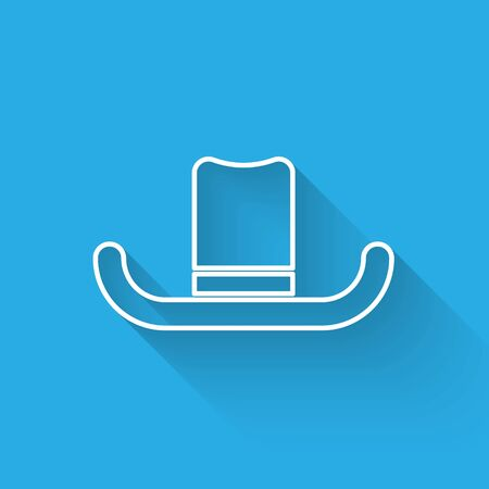 White line Man hat with ribbon icon isolated with long shadow. Vector Illustration Illustration