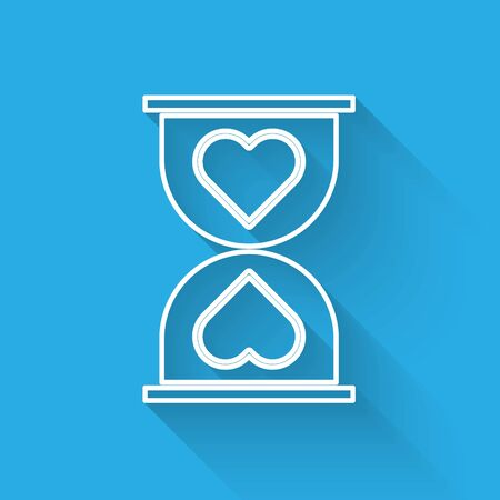White line Heart in the center old hourglass icon isolated with long shadow. Valentines day. Vector Illustration