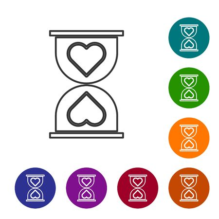 Grey line Heart in the center old hourglass icon isolated on white background. Valentines day. Set icons in color circle buttons. Vector Illustration