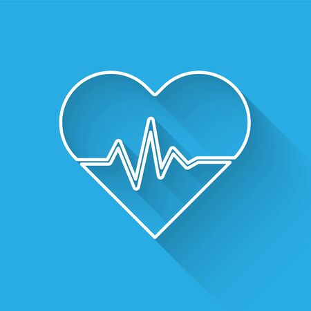 White line Heart rate icon isolated with long shadow. Heartbeat sign. Heart pulse icon. Cardiogram icon. Vector Illustration