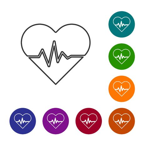 Grey line Heart rate icon isolated on white background. Heartbeat sign. Heart pulse icon. Cardiogram icon. Set icons in color circle buttons. Vector Illustration Ilustrace