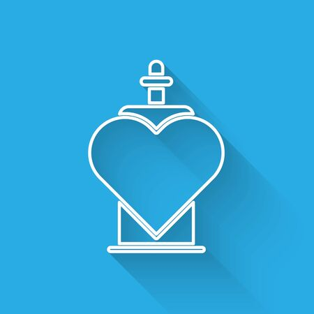 White line Bottle with love potion icon isolated with long shadow. Valentines day symbol. Vector Illustration