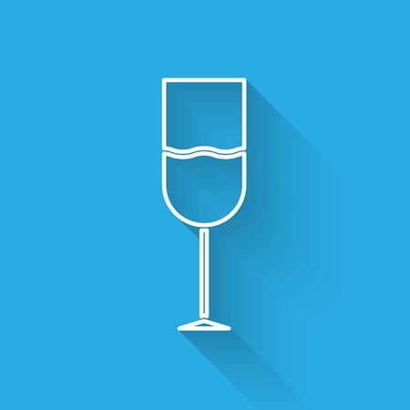 White line Wine glass icon isolated with long shadow. Wineglass icon. Goblet symbol. Glassware sign. Vector Illustration