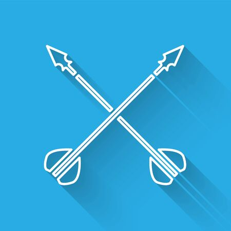 White line Medieval crossed arrows icon isolated with long shadow. Medieval weapon. Vector Illustration Vektorové ilustrace