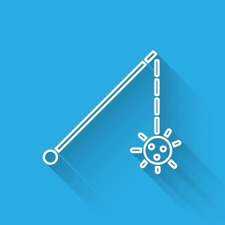 White line Medieval chained mace ball icon isolated with long shadow. Medieval weapon. Vector Illustration Illustration