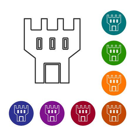 Grey line Castle tower icon isolated on white background. Fortress sign. Set icons in color circle buttons. Vector Illustration 矢量图像