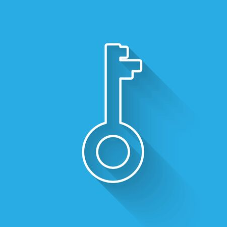 White line Old key icon isolated with long shadow. Vector Illustration