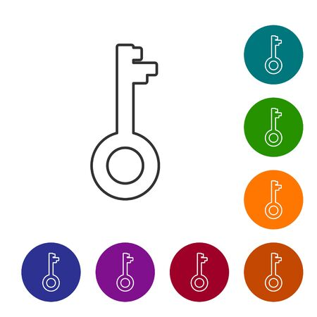 Grey line Old key icon isolated on white background. Set icons in color circle buttons. Vector Illustration