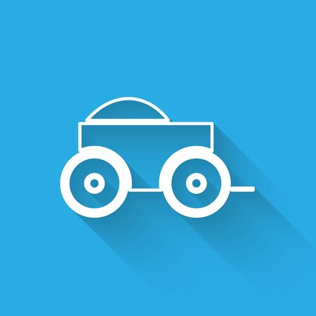 White line Wooden four-wheel cart with hay icon isolated with long shadow. Vector Illustration Ilustrace