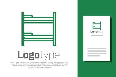 Green line Bunk bed icon isolated on white background. Logo design template element. Vector Illustration